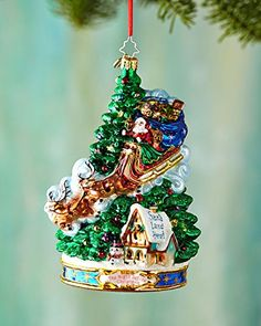 Christopher Radko Twas the Night Before Christmas Collection - Midnight Arrival Glass Christmas Ornament .