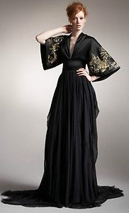 Alexander McQueen black and gold dress with kimono sleeves