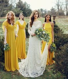 30 Trendy Mustard Wedding Ideas ♥ Mustard is trendy color now! If you planning mustard wedding, this post is full of bridal ideas for any season and style to inspire you. Mustard Bridesmaid Dresses, Yellow Bridesmaids, Bridesmaid Dresses 2018, Vintage Style Bridesmaid Dresses, Bridal Gowns, Wedding Gowns, Wedding Bouquets, Mustard Wedding, Boho Wedding