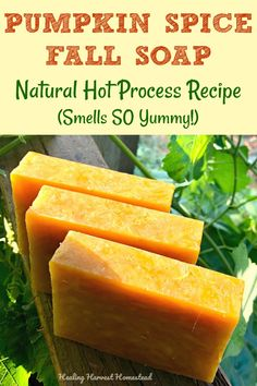 you in the mood for Fall? You'll love this all natural, handmade hot process Pumpkin Spice Soap recipe. It smells SO delicious--like a pumpkin spice latte! Spicy, sweet--just like pumpkin pie. It's an easy to make soap recipe too! Diy Savon, Handmade Soap Recipes, Handmade Soaps, Diy Soaps, Handmade Headbands, Handmade Crafts, Handmade Rugs, Soap Making Supplies, Soap Maker