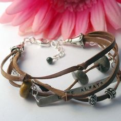 Leather and Silver bracelet - hand stamped - custom and personalized - recycled and ecofriendly metal - Everyday Bracelet