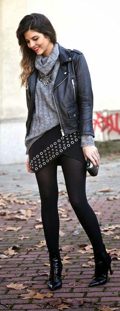 ♥Leather Moto + Rocking Skirt