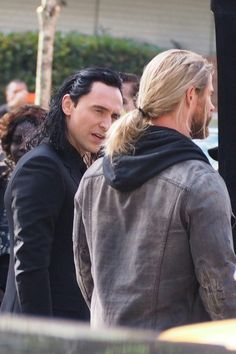 Tom Hiddleston and Chris Hemsworth on the set of 'Thor: Ragnarok' in Brisbane…