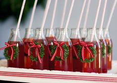 Perfect Christmas Cocktails for an office holiday party! We would go with red & white striped straws. Christmas Party Drinks, Christmas Punch, Office Holiday Party, Holiday Drinks, Noel Christmas, Christmas Goodies, Christmas Desserts, Christmas Treats, All Things Christmas