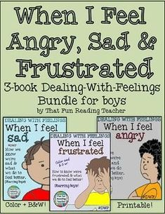 When I feel angry, sad & frustrated Bundle Printable Books (boy) Color and Black and White books showing #boys how to recognize, express and manage tricky #feelings. #DWF $