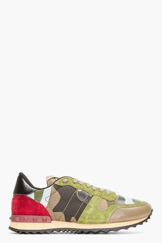 VALENTINO Green Patchwork Studded Camo Sneakers