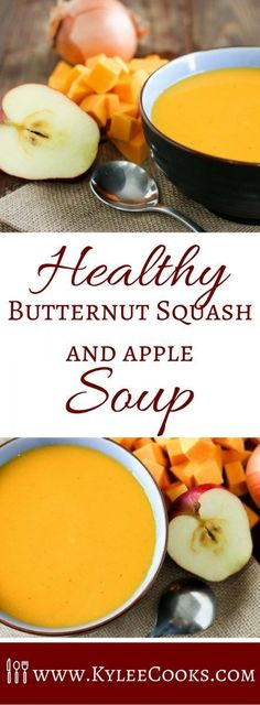 Thick, creamy, and absolutely fantastic, this Butternut Squash and Apple Soup is a great winter warmer, and super easy to make! via (Butternut Squash Soup Recipes) Healthy Soup Recipes, Vegetarian Recipes, Cooking Recipes, Apple Recipes Healthy Clean Eating, Autumn Recipes Healthy, Heathy Soup, Simple Soup Recipes, Apple Recipes Dinner, Whole30 Soup Recipes