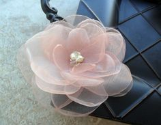 $27    Hand cut and singed organza and flower hairpiece with swarovski crystals and pearls.