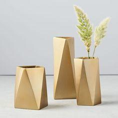 Brass geometric vase