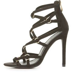 Charlotte Russe Strappy Caged Dress Sandals ($39) ❤ liked on Polyvore featuring shoes, sandals, black, black strappy shoes, black heeled sandals, strappy dress sandals, cage sandals and strappy sandals