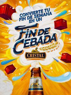 """Fin de Cebada"" Cristal on Behance Food Poster Design, Ad Design, Flyer Design, Layout Design, Creative Advertising, Advertising Design, Freelance Graphic Design, Social Media Design, Creative Thinking"