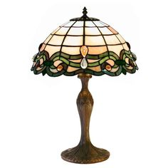 The Tiffany-Style Semi-Baroque Table Lamp adds a touch of historic elegance to your living area. The pale amber shade features an ornate Baroque-style. Louis Comfort Tiffany, Stained Glass Table Lamps, Tiffany Style Table Lamps, Table Lamps For Bedroom, Lamp Table, Desk Lamp, Table Desk, Baroque, Tiffany Glass