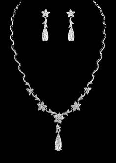 Floral Silver Plated CZ Crystal Bridal Necklace and Earring Jewelry Set--Affordable Elegance Bridal -