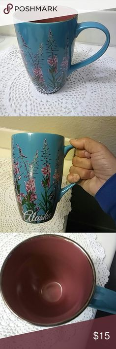 """Arctic Circle Coffee MUG Designed in Alaska. Anchorage exclusively. Beautiful teal blue color with pink and lavendar flowers and green leaves. 5-3/4"""".  Alot of coffee in this cup.  Very beautiful.  Ceramic. Arctic Alaska Accessories Glasses"""