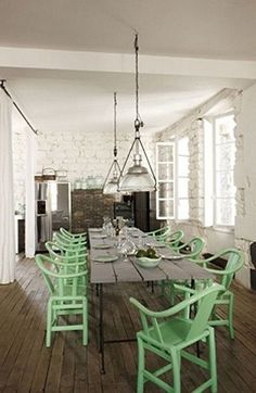 Rustic & Industrial mint green chairs
