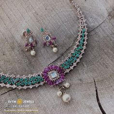 Feminine yellow gold short necklace and its matching stud is accented with classy south sea pearls, fancy and mozonite stones. Green Necklace, Short Necklace, Beaded Necklace, Gold Necklace, Diamond Jewelry, Gold Jewelry, Jewellery, Gold Shorts, South Sea Pearls