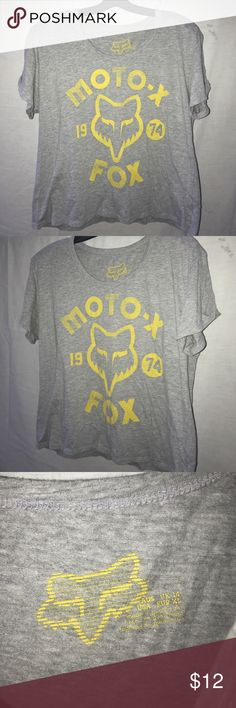 Fox Racing Waist Cut Tee Fox Racing tee cut to waist (not cropped). Purchased this large so that it fit like an oversized tee on me, size juniors xl. Fox Tops Tees - Short Sleeve