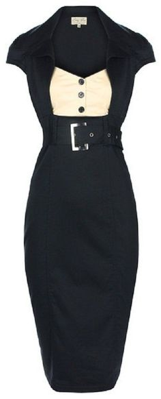 130147d420ae NEW CHIC VINTAGE 1950 s SECRETARY STYLE BLACK PENCIL WIGGLE DRESS WORK    OFFICE