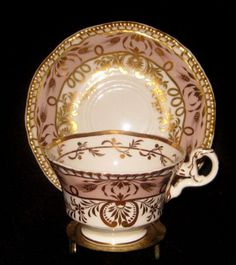 ANTIQUE-C-1825-SPODE-LILAC-GOLD-GILT-TRIM-CUP-SAUCER-SET-STUNNING