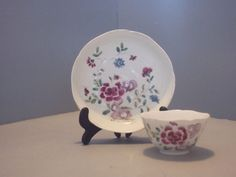 Bow Hand Painted Polychrome Teabowl and Saucer, C1754-56.  £275 BIN