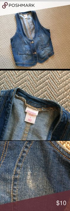 Girls Jean Vest Worn once! Has distressed areas(shown in pictures) Smoke-free Shirts & Tops