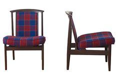 Handsome pair of Dux chairs reupholstered in vintage English plaid.