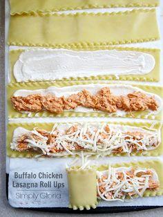 Buffalo Chicken Lasagna Roll Ups by SimplyGloria.com #lasagna @Jackie Godbold Godbold Gregory Gloria