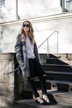 Grey Cardigan and Striped Shirt - Alexa Dagmar : Alexa Dagmar