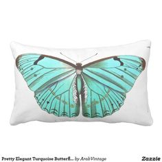 Pretty Elegant Turquoise Butterfly Pillow