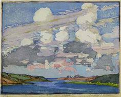 Margaret Jordan Patterson (1867-1950) - Summer Clouds. Woodblock Print. Circa 1918.