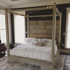 Typically, you're going to want a canopy bed which you have purchased from a furniture shop. Many years back, a canopy bed proved to be a functional product. Or if you previously have that royal canopy bed and need some… Continue Reading → Headboards For Beds, Home, Bedroom Design, Reclaimed Wood Beds, Wood Canopy Bed, Bedroom Furniture, Canopy Bedroom, Wood Canopy, White Bedding