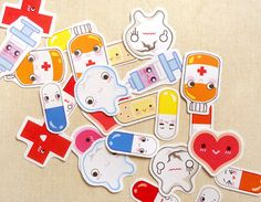 Cute Medical First Aid Kit Sticker Flakes Big by BeagleCakesArt