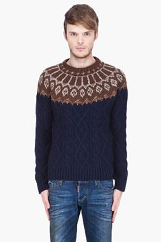 SASQUATCHFABRIX navy and brown Nordic Fisherman Knit