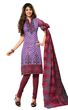 PURPLE & MAROON COTTON SALWAR KAMEEZ - DISH 1003