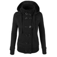 Women hoodies sweatshirt autumn winter fleece liner thick warm casual sudaderas double breasted hooded jacket coat plus size