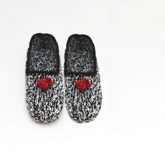 Black and white with red rose slippers home by Themagicofcolors, $24.99