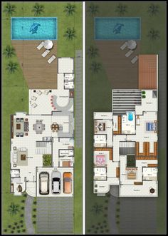 55 Ideas House Beach Architecture Facades For 2019 Pool House Plans, Dream House Plans, Modern House Plans, Home Design Floor Plans, Home Building Design, House Design, Bungalow, Modern Villa Design, Small Space Interior Design