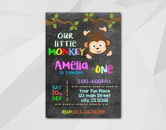 #Monkey #Birthday invitation, Instant Download Editable PDF. It's fast and easy! Download, personalize and print or send online your own #invitation in few minutes. You will r... #birthday #black #chalkboard #monkey ➡️ http://digiinvites.com/products/monkey-birthday-invitation-c012?utm_campaign=products&utm_content=dfb6cca7cf7e4926988815029e4f6cc1&utm_medium=pinterest&utm_source=sellertools