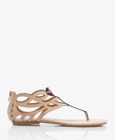 6fb5d6537239c Geo Cutout Faux Leather Sandals