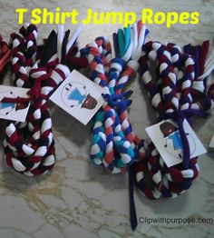 Repurpose t-shirts into jump ropes