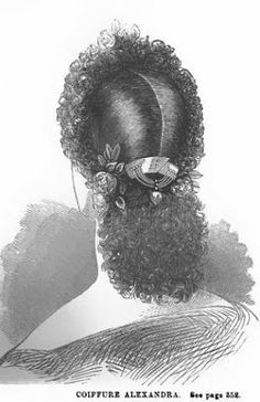 1863 Arthur's Home Magazine COIFFURE ALEXANDRA  Hair is cut short in the front  curled, the little curls being arranged over frizettcs, to give the coiffure the shape indicated in the illustration. The rest of the hair parted down the centre, tied on each side behind the ear, then arranged in as many curls as it is possible so to do. Single roses and leaves are dotted here and there amongst the curls in front, and an ornamental comb, with a flower on each side, finishes the head dress behind.