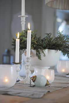 simple white and green Christmas -need to find pretty white candle holders.