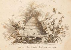 'Studio fallente laborem' 18th century beehive -