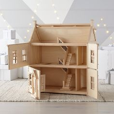 Plan Toys Victorian Dollhouse + Reviews | Crate and Barrel Cardboard Dollhouse, Dollhouse Kits, Wooden Dollhouse, Homemade Dollhouse, Dollhouse Windows, Dollhouse Design, Wooden Dolls, Dollhouse Miniatures, Victorian Dollhouse Furniture
