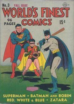 Batman, Robin & Superman play baseball in World's Finest Comics 3 Superman Comic, Comic Book Superheroes, Dc Comic Books, Vintage Comic Books, Vintage Comics, Comic Book Covers, Comic Book Characters, Comic Art, Vintage Magazines