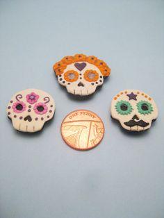 Sugar Skull polymer clay fridge magnet by RoboticCookie on Etsy