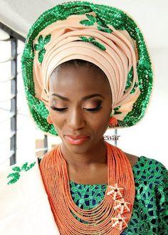 Green Sequin Gele | 18 Pretty Perfect Sequin Gele Head-Ties {Nigerian Weddings}