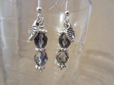 Blue/Silver Bead & Silver Leaf Dangle Earrings by Pizzelwaddels, $7.97