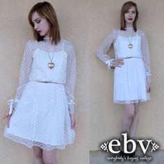 Vintage 70s White Lace Mini Party Dress XS S Vintage Wedding Dress White Dress White Lace Dress on Etsy, £46.65