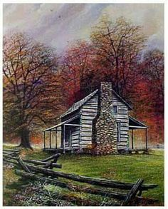 John Oliver Cabin by Randall Ogle Farm Paintings, Landscape Paintings, Watercolor Paintings, Landscapes, Watercolors, Building Painting, Country Scenes, Country Art, Country Life